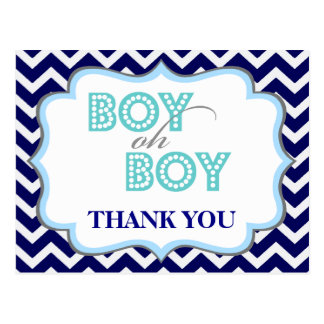Boy Oh Boy Mustache Baby Shower Thank You Postcard