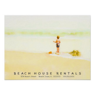 Boy on a Beach Watercolor Poster
