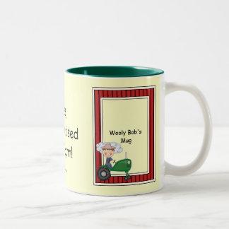 Boy on Green Tractor - Farmyard Barnyard - Kids Two-Tone Coffee Mug