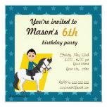 Boy on horse cartoon birthday print invites
