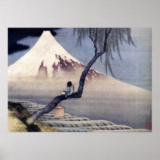 Boy on Mount Fuji Hokusai Poster