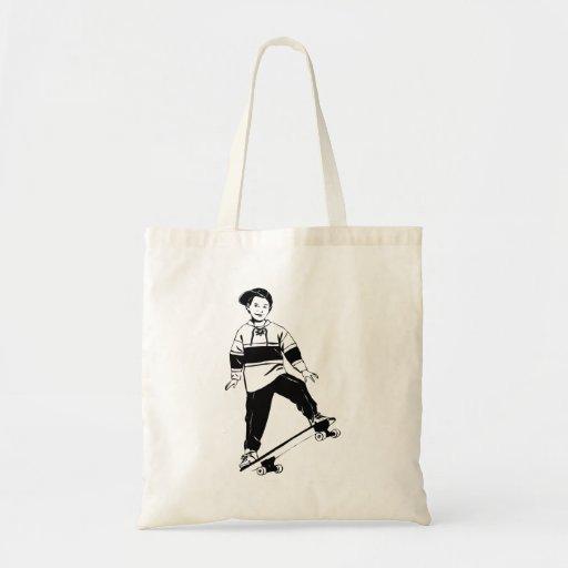 Boy on Skateboard Canvas Bag