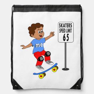 boy on skateboard next to skater speed limit 65 drawstring backpacks