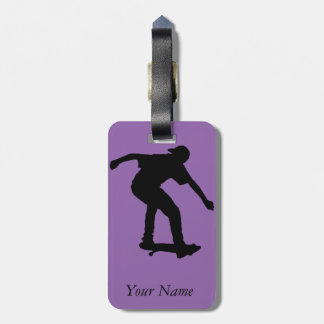 Boy On Skateboard Silhouette derived from an image Luggage Tag