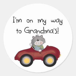 Boy On Way to Grandmas Tshirts and Gifts Round Sticker