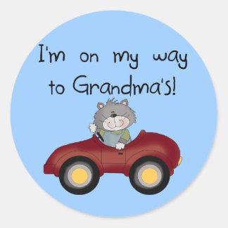 Boy On Way to Grandmas Tshirts and Gifts Sticker