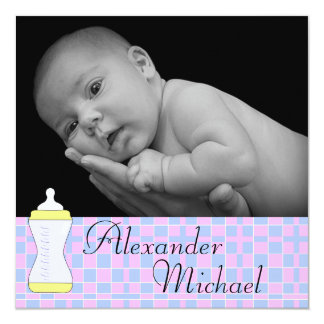 """Boy Or Girl Baby Blanket Birth Announcement 5.25"""" Square Invitation Card"""