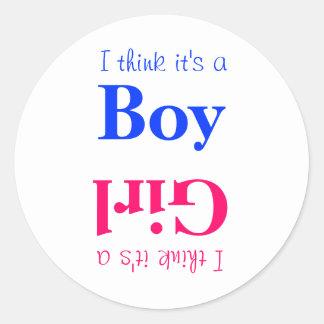 Boy or Girl Baby Gender Reveal Game Sticker