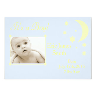 Boy or Girl Blue and Yellow Baby Announcement