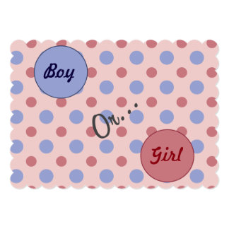 """Boy or Girl"" Polkadot Gender Reveal party invite"