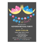 "Boy Or Girl Teddy Bears Gender Reveal Party 5"" X 7"" Invitation Card"