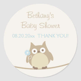 Boy Owl Baby Shower Thank You Round Sticker