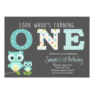 boy Owl First Birthday -Look whoo is turning one 13 Cm X 18 Cm Invitation Card