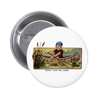 Boy Paddling Canoe Through Lily Pads Vintage 6 Cm Round Badge