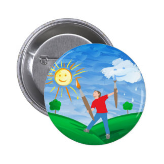 Boy Painting Skies 6 Cm Round Badge