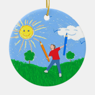 Boy Painting Skies Ceramic Ornament