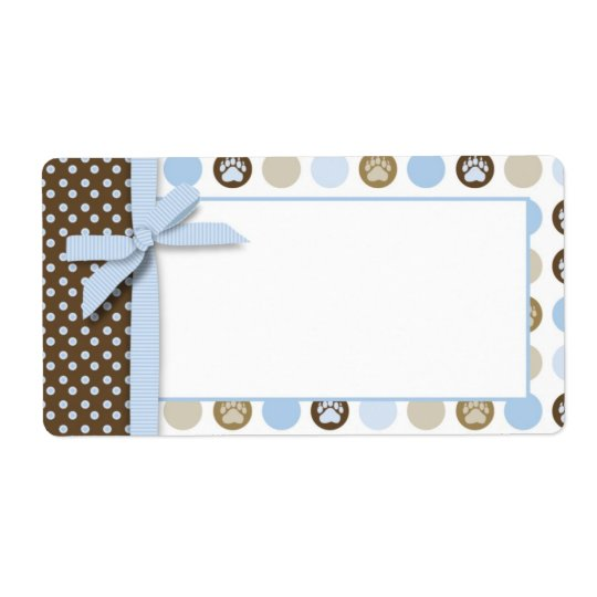 Boy Paw Print Polka Dots Name Tag
