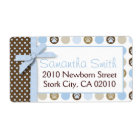 Boy Paw Print Polka Dots Shipping Label