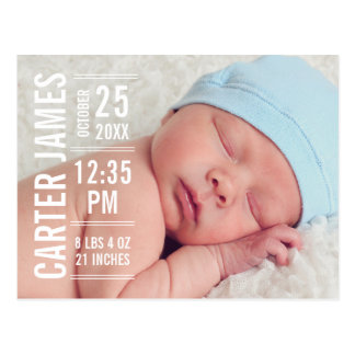 Boy Photo Birth Announcement | Modern Type Postcard