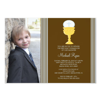 Boy Photo First Communion Invitation Chalice