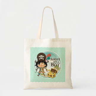 Boy Pirate Aqua Green Chevron Tote Bag