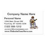 Boy playing acoustic guitar with sheet music business card template