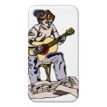 Boy playing acoustic guitar with sheet music iPhone 4/4S case