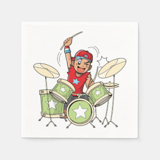 Boy Playing Drums Paper Napkins Paper Napkin