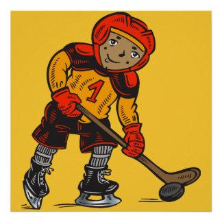 Boy Playing Hockey Posters