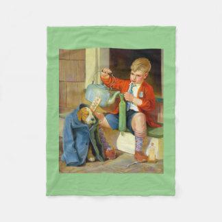 BOY PLAYING WITH DOG: Retro Fine Art Blanket Fleece Blanket