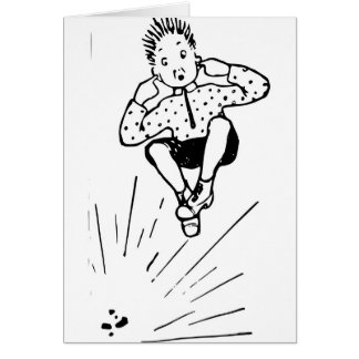 Boy Playing With Firework Illustration Card