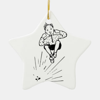 Boy Playing With Firework Illustration Ceramic Ornament