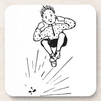 Boy Playing With Firework Illustration Coaster