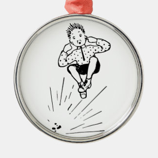Boy Playing With Firework Illustration Silver-Colored Round Decoration