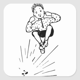 Boy Playing With Firework Illustration Square Sticker
