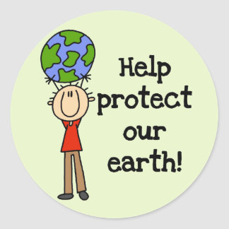 Boy Protect Our Earth T-shirts and Gifts Classic Round Sticker