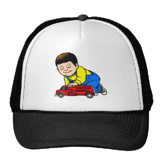Boy red fire truck cap