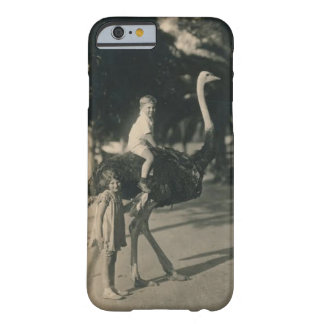 Boy Riding an Ostrich Vintage Postcard Photo Motif Barely There iPhone 6 Case