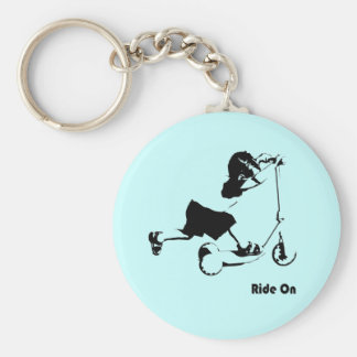 Boy Riding on Scooter Key Ring
