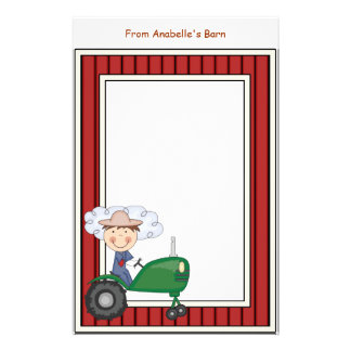 Boy Riding Tractor Barn Frame Kids Writing Paper Personalised Stationery