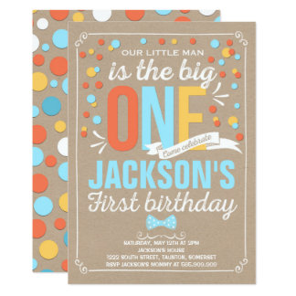Boy Rustic Kraft First Birthday Invitation