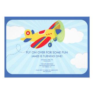 Boy s Birthday Invitation Cute Airplane