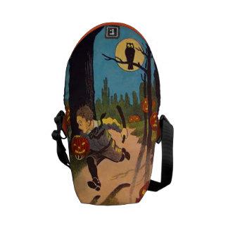 Boy Scared By Jack O' Lanterns Messenger Bag