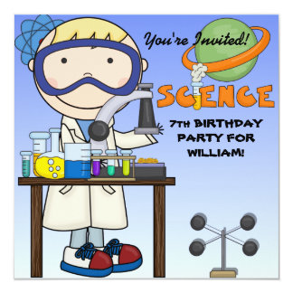 Boy Science Birthday Party Invitation