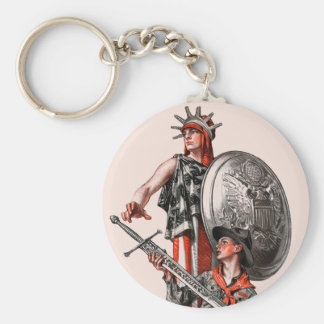 Boy Scout and Liberty Basic Round Button Key Ring