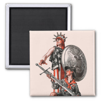 Boy Scout and Liberty Square Magnet