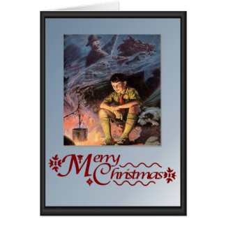 Boy scout by the camp fire greeting card