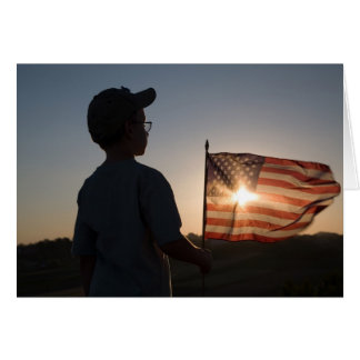 Boy Scout Holding USA Flag Cards