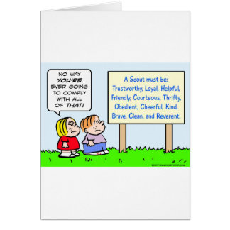 boy scouts comply brave trustworthy loyal kind greeting card