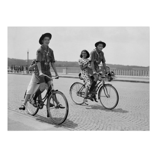 Boy Scouts on Bicycles, 1937 Poster